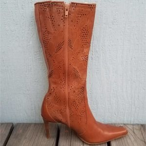 Kenneth Cole   Stiletto Leather Boots Brown 6